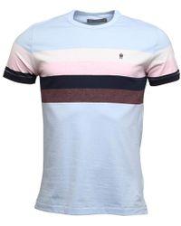 French Connection - Four Chest Stripe T-shirt Sky Melange/pink Melange - Lyst