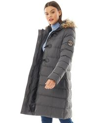 Brave Soul Wizard Long Padded Jacket With Faux Fur Trim Hood Grey