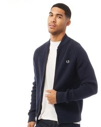 Fred Perry Bomber Neck Cardigan Deep Carbon - Blue
