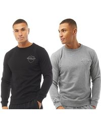 883 Police Hayes Two Pack Crew Sweatshirts Black/light Grey Melange