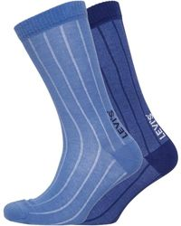 Levi's Two Pack Regular Cut Vertical Birdseye Socks Navy/blue