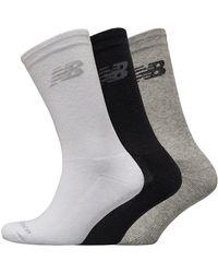 New Balance Cushioned Crew Three Pack Socks Black/grey/white
