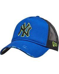 KTZ Mlb New York Yankees Distressed 9forty Trucker Pet Blauw