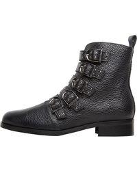 Karen Millen Bronte Alice Leather Ankle Boots Black/black