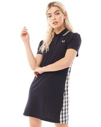 Fred Perry Gingham Panel Pique Dress Navy - Blue