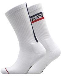 Levi's 120 Series Vertical Sportswear Logo Zwei Pack Socken Weiß