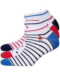 Original Penguin Three Pack Trainer Liners Stripe White Blue Red