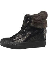 Converse - Ct All Star Hi Platform Plus Faux Fur Collar Trainers Black/metallic - Lyst