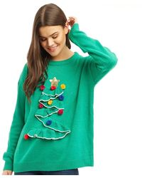 Brave Soul 3d Frill Christmas Tree Jumper Green