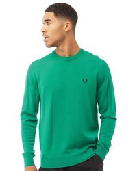 Fred Perry - Classic Merino Crew Neck Jumper Electric Green - Lyst