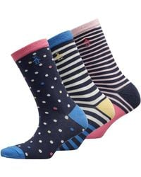 Original Penguin Three Pack Ankle Socks Stripes Spots Navy Yellow - Blue