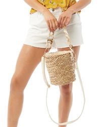 South Beach Straw Bucket Bag Natural - Multicolour