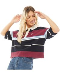 Fred Perry Striped Pique Shirt Snow White