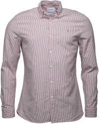 Farah - Hemsley Slim Fit Long Sleeve Shirt Fushia - Lyst
