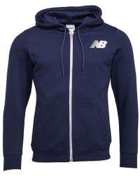 New Balance - Core Fleece Full Zip Hoodie Navy - Lyst