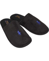 Ralph Lauren Sunday Scuff Slippers Black/royal Piping