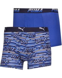 PUMA Logo All Over Print Two Pack Boxers Blue Combo