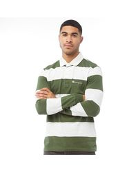Champion Reverse Weave Script Logo Long Sleeve Polo Green/white
