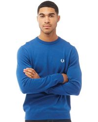 Fred Perry Classic Merinoe Crew Neck Jumper Mid Blue