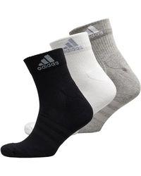 adidas Unisex 3 Stripes Performance Cushioned Three Pack Ankle Socks Black/medium Grey Heather/light Grey