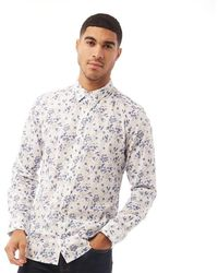 French Connection Design Floral Long Sleeve Shirt Ink Flower - White
