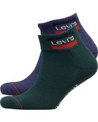 Levi's 120 Series Mid Cut Sportswear Logo Two Pack Socks Green Combo