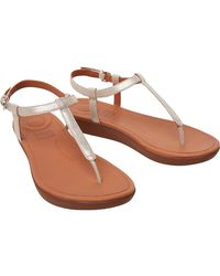 Fitflop Tia Leather Toe Post Sandals Silver - Metallic