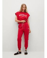 Mango Pantalon jogger coton - Rouge