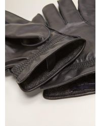 Mango - Wool-blend Lining Leather Gloves - Lyst