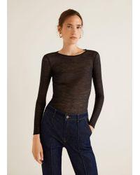 Mango - Devoré Knit T-shirt - Lyst