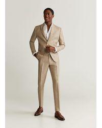 Mango Slim Fit Linen Suit Blazer Beige - Natural
