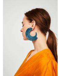 Mango - Embossed Hoop Earrings - Lyst