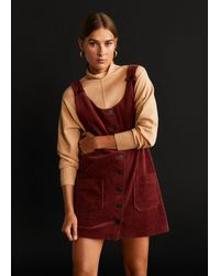 Mango Buttons Corduroy Pinafore Dress - Red
