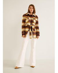 Mango - Chequered Wool-blend Coat - Lyst