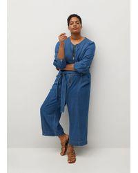 Violeta by Mango Long Denim Jumpsuit - Blue