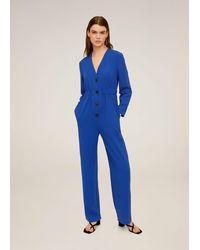 Mango Buttoned Long Jumpsuit - Blue