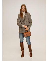 Mango Fringed Wool Blazer - Brown