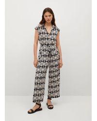 Mango Cotton Print Jumpsuit - Black