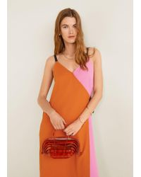 956a499b856 Mango Pleated Bicolor Dress in Pink - Lyst