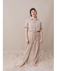 Violeta by Mango Long Soft Jumpsuit - Natural