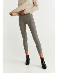 Mango Checks Print leggings - Gray