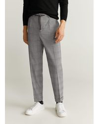 Mango Tapered Fit Checked Trousers Dark Heather Grey