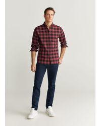 Mango Geruit Flanellen Regular-fit Overhemd - Rood
