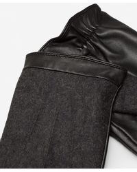 Mango | Contrast Leather Gloves | Lyst