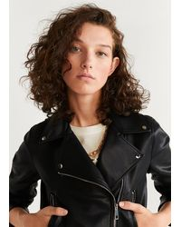 Mango Zipped Biker Jacket - Black