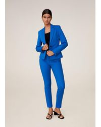 Mango Suit Slim-fit Pants Blue