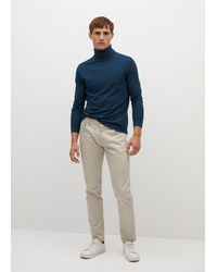 Mango Turtleneck Cotton T-shirt - Blue