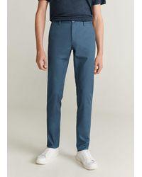 Mango Slim Fit Chino Trousers Indigo Blue