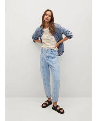 Mango Jeans slouchy vita alta - Blu