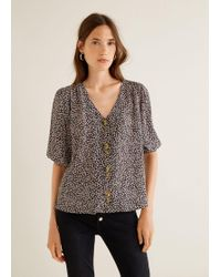 Mango - Buttoned Textured Blouse - Lyst